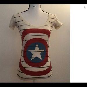 MARVEL COMICS Women's striped target shirt Size XS